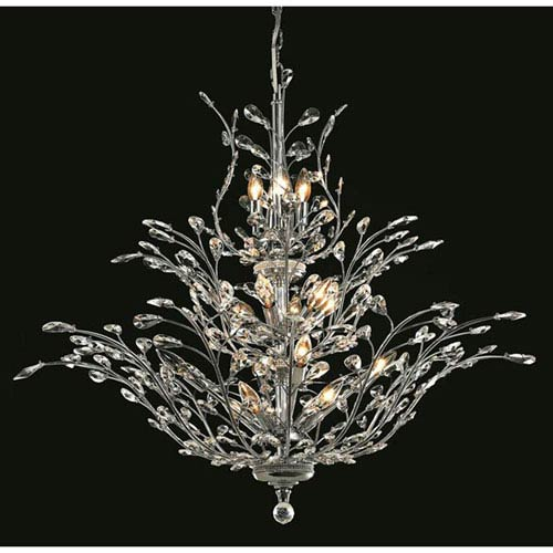 Elegant Lighting Orchid Chrome Chandelier with Royal Cut Crystal
