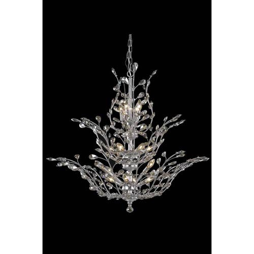 Orchid Chrome Chandelier with Golden Teak Royal Cut Crystal