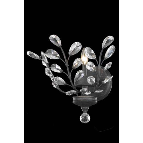 Elegant Lighting Orchid Dark Bronze One-Light Wall Sconce with Royal Cut Crystal