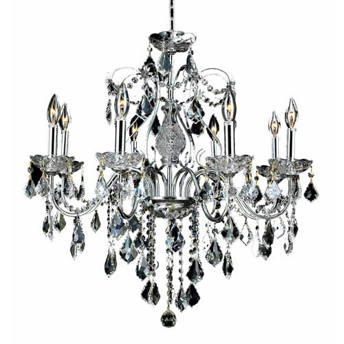 Elegant Lighting St. Francis Chrome Eight-Light 26-Inch Chandelier with Royal Cut Clear Crystal