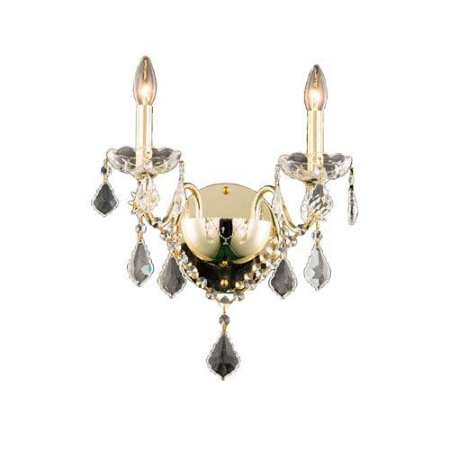 Elegant Lighting St. Francis Gold Two-Light Wall Sconce with Royal Cut Crystal