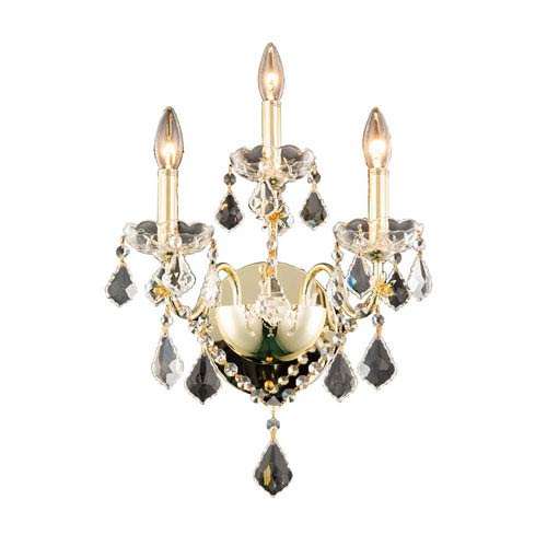 St. Francis Gold Three-Light Wall Sconce with Royal Cut Crystal