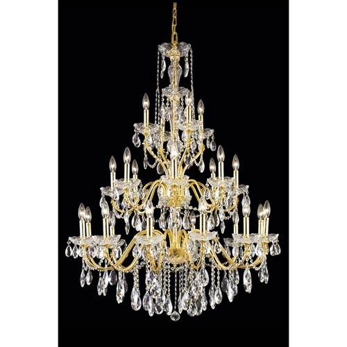 Elegant Lighting St. Francis Gold 24-Light Pendant with Royal Cut Crystal