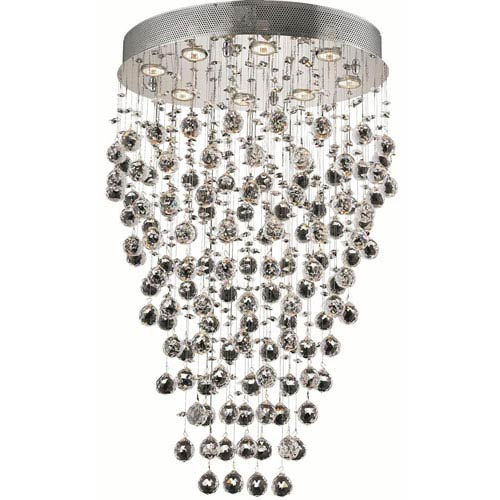 Elegant Lighting Galaxy Chrome Eight-Light 16-Inch Semi Flush Mount with Royal Cut Clear Crystal and Round Canopy