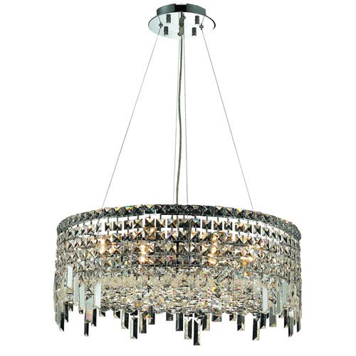 Elegant Lighting Maxim Chrome Twelve-Light 24-Inch Pendant with Royal Cut Clear Crystal