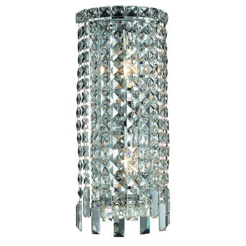 Elegant Lighting Maxim Chrome Two-Light 8-Inch Bath Fixture with Royal Cut Clear Crystal