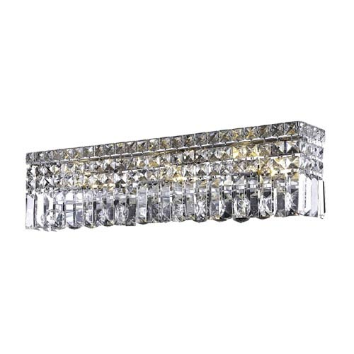 Elegant Lighting Maxim Chrome Six-Light Bath Fixture with Royal Cut Clear Crystal