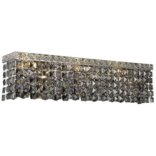 Elegant Lighting Maxim Chrome Six-Light Bath Fixture with Royal Cut Silver Grey Crystal
