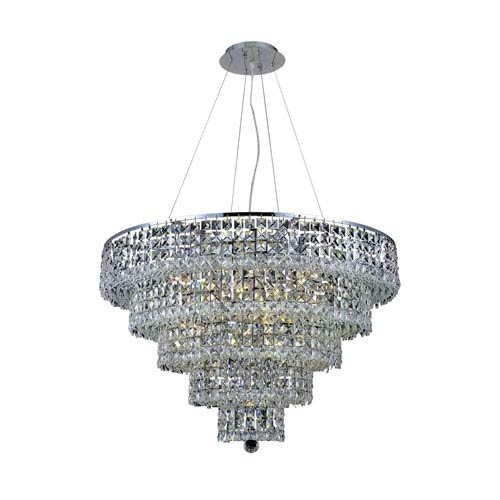Elegant Lighting Maxim Chrome Seventeen-Light 30-Inch Five-Tier Chandelier with Royal Cut Clear Crystal