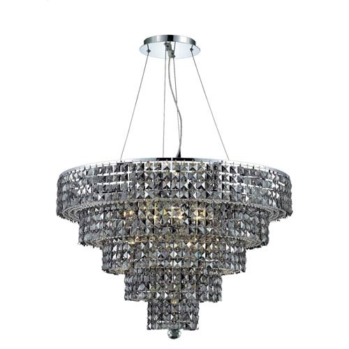 Elegant Lighting Maxim Chrome Seventeen-Light 30-Inch Five-Tier Chandelier with Royal Cut Silver Grey Crystal