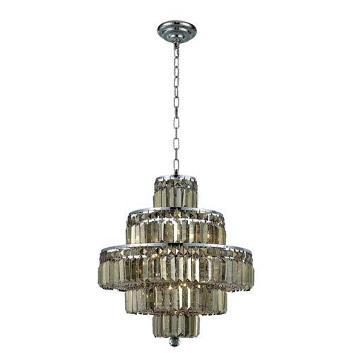 Elegant Lighting Maxim Chrome Thirteen-Light 20-Inch Five-Tier Chandelier with Royal Cut Golden Teak Smoky Crystal