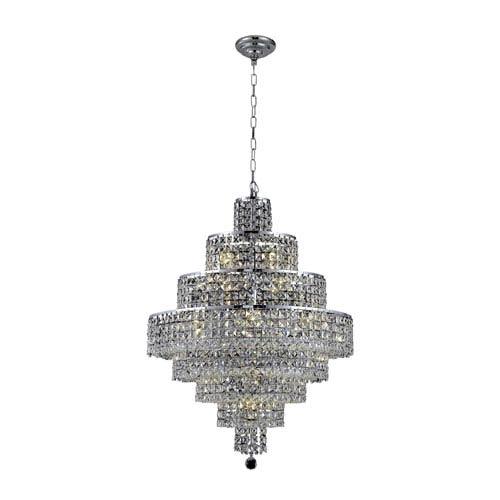Maxim Chrome Eighteen-Light 26-Inch Eight-Tier Chandelier with Royal Cut Clear Crystal