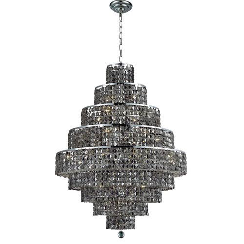 Elegant Lighting Maxim Chrome Twenty-Light 30-Inch Nine-Tier Chandelier with Royal Cut Silver Grey Crystal