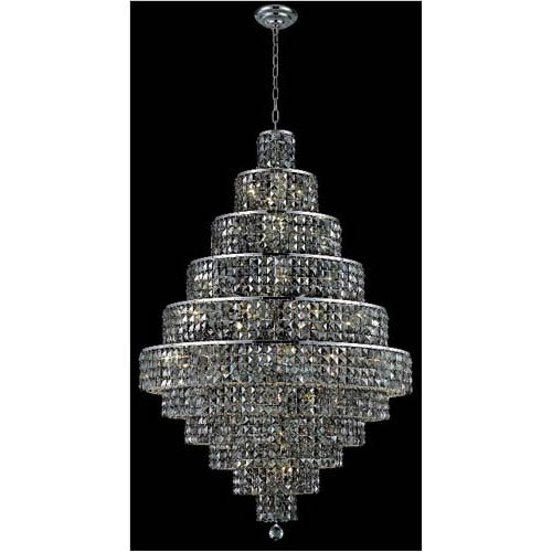 Elegant Lighting Maxim Chrome Thirty-Light Chandelier with Silver Shade/Grey Royal Cut Crystals