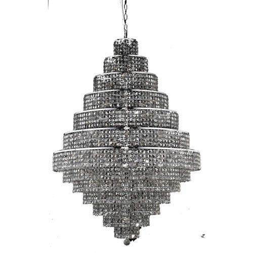 Elegant Lighting Maxim Chrome Thirty-Eight Light 42-Inch Thirteen-Tier Chandelier with Royal Cut Silver Grey Crystal