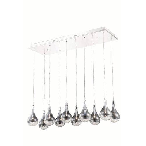 Elegant Lighting Edison Royal Cut Crystal Chrome 10 Light 90-in Pendant