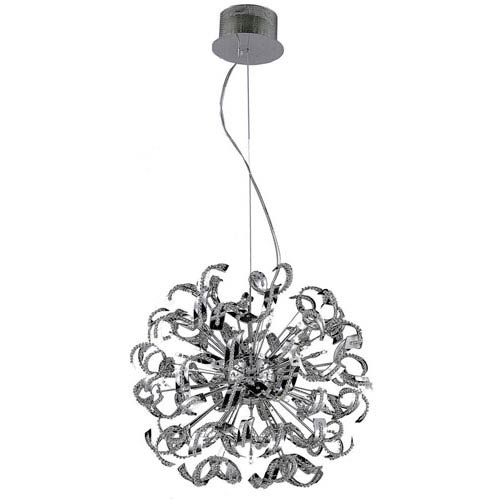 Tiffany Chrome 25-Light Pendant with Elegant Cut Crystal
