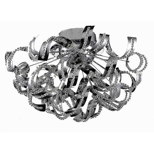 Elegant Lighting Tiffany Chrome 19-Light Flush Mount with Elegant Cut Crystal