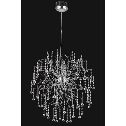 Elegant Lighting Astro Chrome Eighteen-Light Chandelier with Clear Royal Cut Crystals