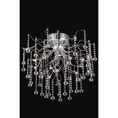 Elegant Lighting Astro Chrome Twelve-Light Semi-Flush Mount with Clear Royal Cut Crystals