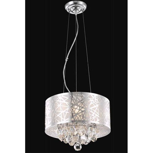 Elegant Lighting Prism Chrome Three-Light Chandelier with Clear Royal Cut Crystals