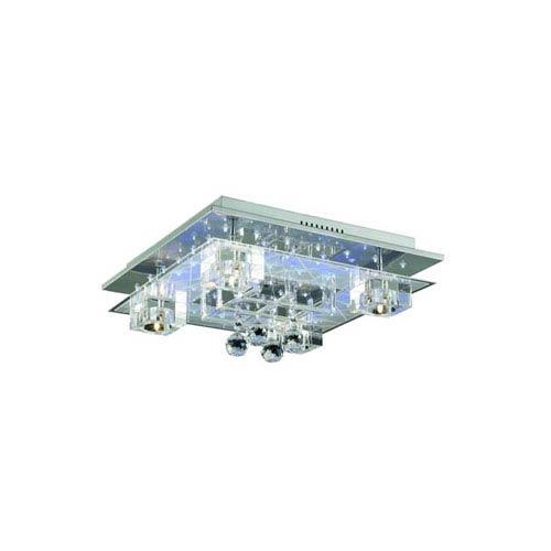 Elegant Lighting Karma Elegant Cut Crystal Chrome Five Light 8-in Flush Mount Fixture