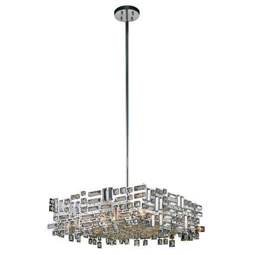 Elegant Lighting Picasso Chrome 24-Inch Six-Light Square Pendant with Clear Crystal