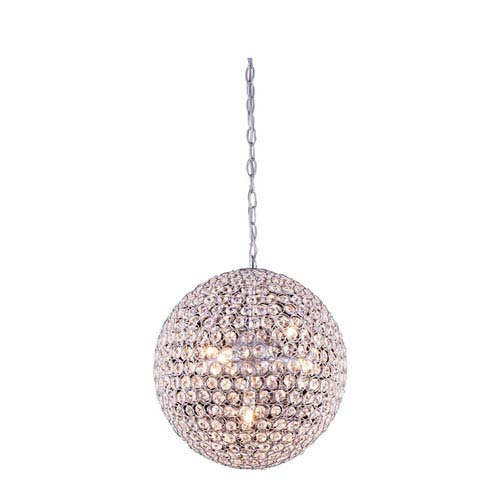 Elegant Lighting Cabaret Chrome Five-Light Pendant with Royal Cut Crystal