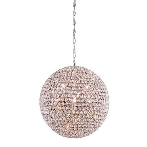 Elegant Lighting Cabaret Chrome Nine-Light Pendant with Royal Cut Crystal