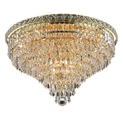 Elegant Lighting Tranquil Gold Ten-Light 20-Inch Flush Mount with Royal Cut Clear Crystal