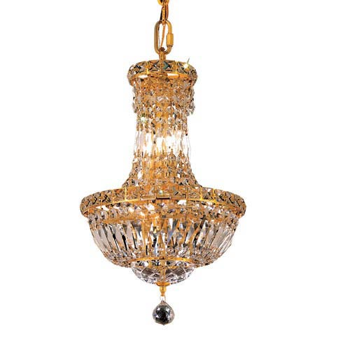 Tranquil Gold Six-Light 12-Inch Chandelier with Royal Cut Clear Crystal