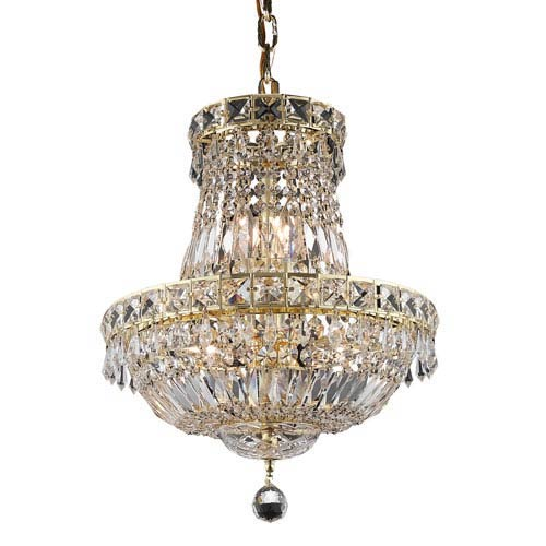 Tranquil Gold Six-Light 14-Inch Chandelier with Royal Cut Clear Crystal