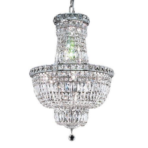 Tranquil Chrome Twelve-Light 18-Inch Chandelier with Royal Cut Clear Crystal