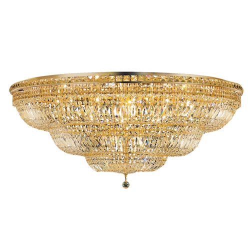 Tranquil Gold Thirty-Three Light 48-Inch Flush Mount with Royal Cut Clear Crystal