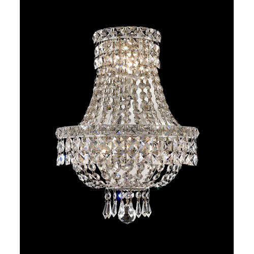 Tranquil Chrome Three-Light 12-Inch Wall Sconce with Royal Cut Clear Crystal
