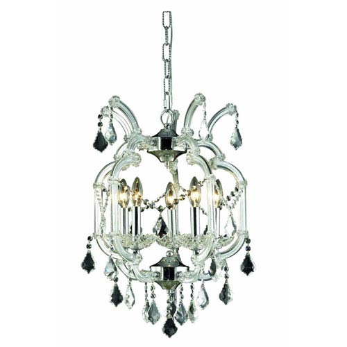 Maria Theresa Royal Cut Crystal Chrome Five Light 23-in Chandelier
