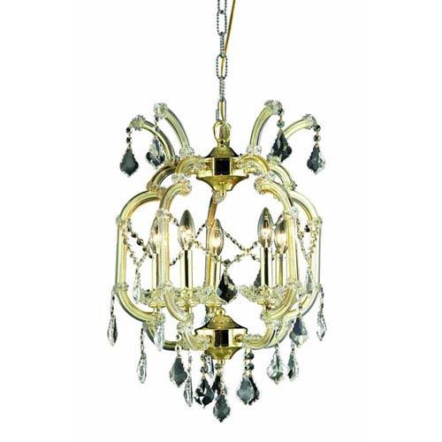Elegant Lighting Maria Theresa Elegant Cut Crystal Gold Five Light 23-in Chandelier