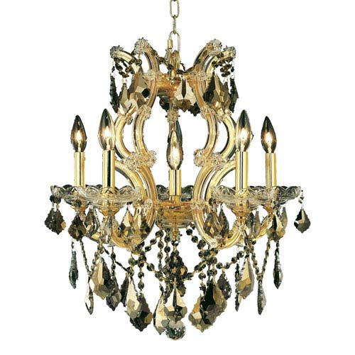 Elegant Lighting Maria Theresa Gold Six-Light 20-Inch Chandelier with Royal Cut Golden Teak Smoky Crystal