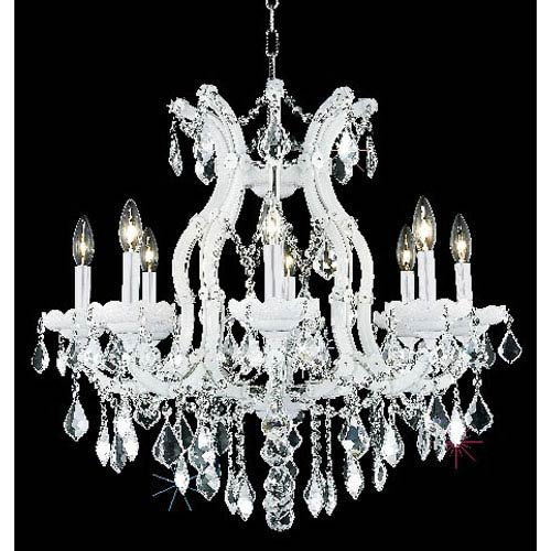 Elegant Lighting Maria Theresa White Nine-Light Chandelier with Clear Royal Cut Crystals