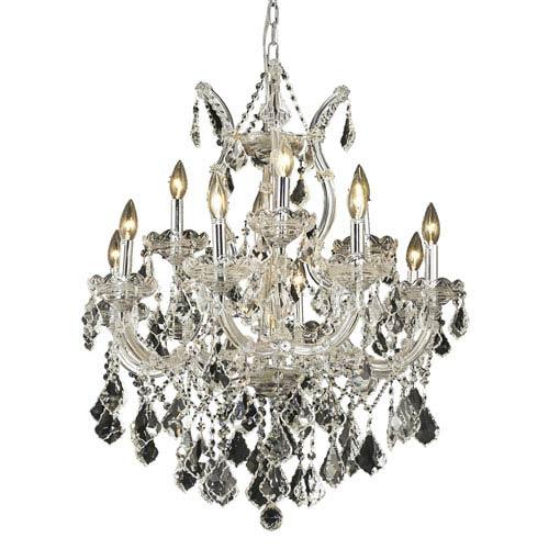Elegant Lighting Maria Theresa Chrome Thirteen-Light 27-Inch Chandelier with Royal Cut Clear Crystal