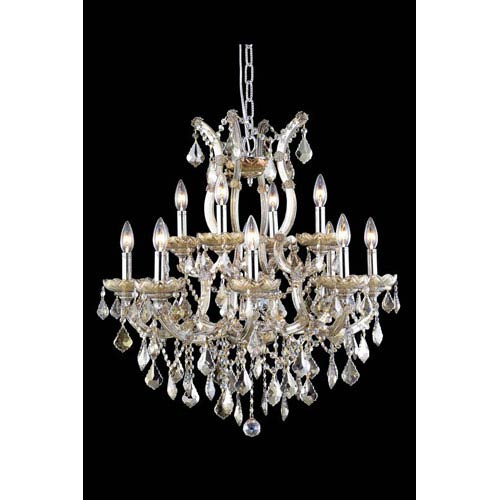 Elegant Lighting Maria Theresa Royal Cut Crystal Golden Teak 13 Light 28-in Chandelier