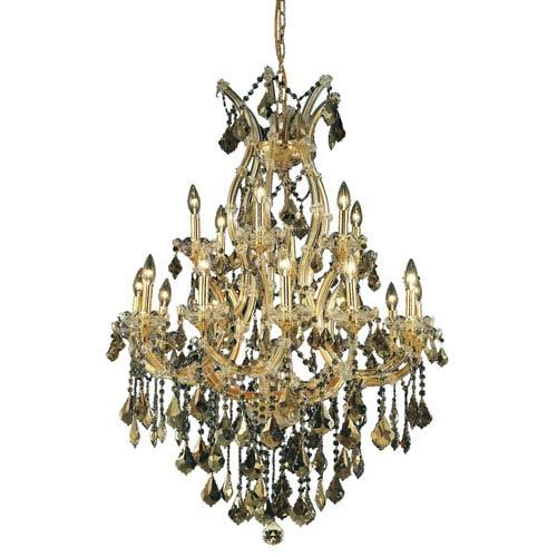 Elegant Lighting Maria Theresa Gold Nineteen-Light 32-Inch Chandelier with Royal Cut Golden Teak Smoky Crystal