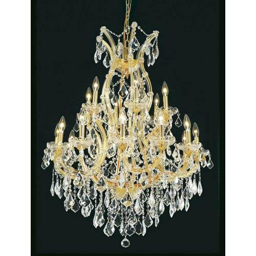 Elegant Lighting Maria Theresa Royal Cut Crystal Golden Teak 19 Light 42-in Chandelier