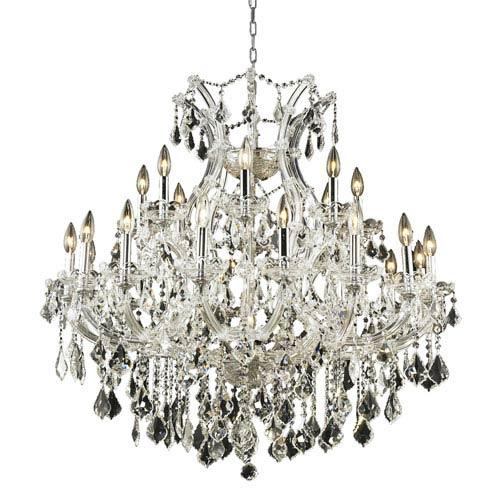 Elegant Lighting Maria Theresa Chrome Twenty-Four Light 36-Inch Chandelier with Royal Cut Clear Crystal