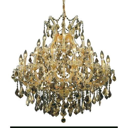 Elegant Lighting Maria Theresa Gold Twenty-Four Light Chandelier with Golden Teak/Smoky Royal Cut Crystals