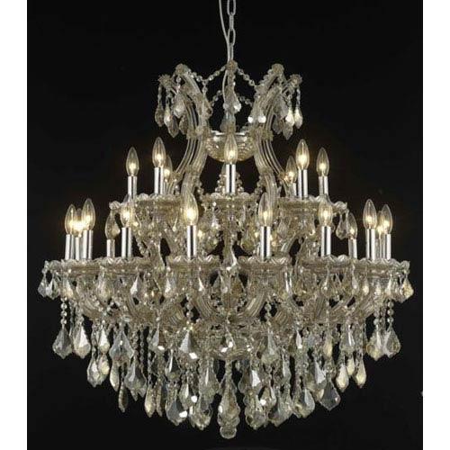 Elegant Lighting Maria Theresa Golden Teak Twenty-Four Light Chandelier with Golden Teak/Smoky Royal Cut Crystals