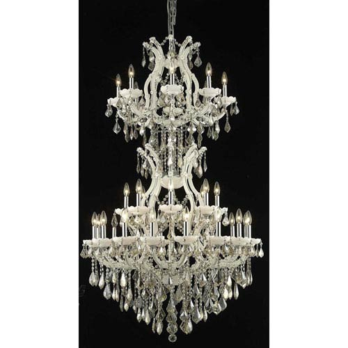 Elegant Lighting Maria Theresa White 34-Light Chandelier with Swarovski Strass/Golden Teak Elements Crystal
