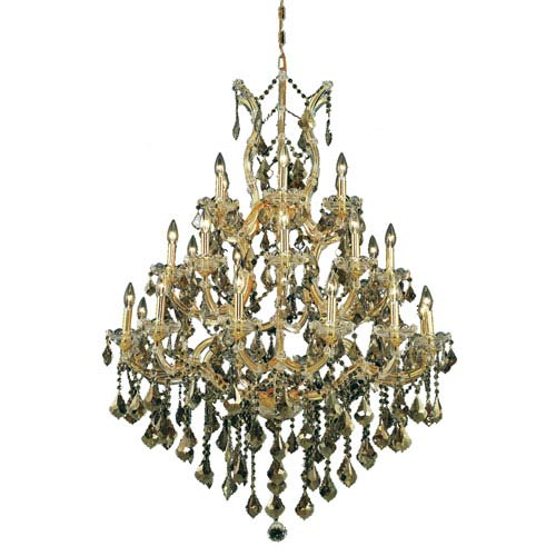 Elegant Lighting Maria Theresa Gold Twenty-Eight Light Chandelier with Golden Teak/Smoky Royal Cut Crystals