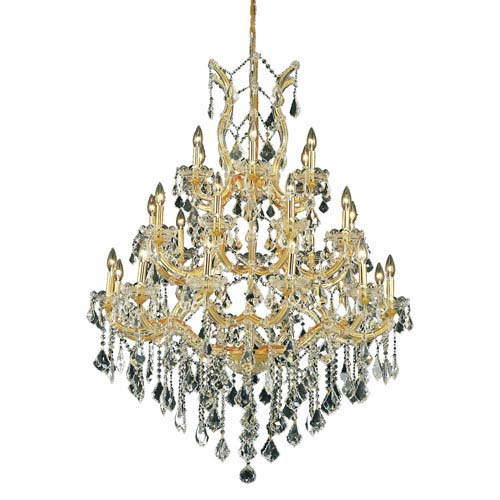 Elegant Lighting Maria Theresa Gold Twenty-Eight Light Chandelier with Clear Royal Cut Crystals