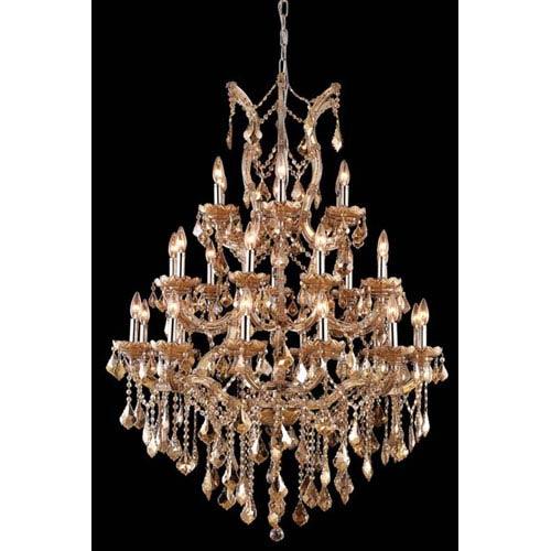 Elegant Lighting Maria Theresa Swarovski Strass Crystal Golden Teak 28 Light 52-in Chandelier